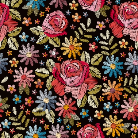 Embroidery seamless pattern with beautiful colorful flowers. Floral background in vintage style. Fancywork. Fashion design. Vector illustration. Ilustração