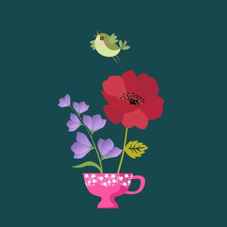 Cute little bird and cup with poppy and bellflower. Beautiful vector card. Spring design.
