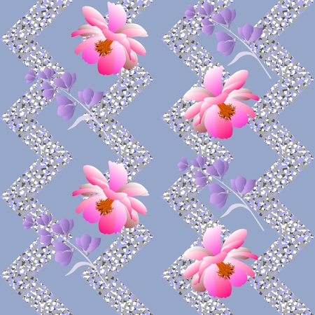 Seamless floral pattern on silver zigzag background in vector. Print for fabric, wallpaper, wrapping design. Illustration