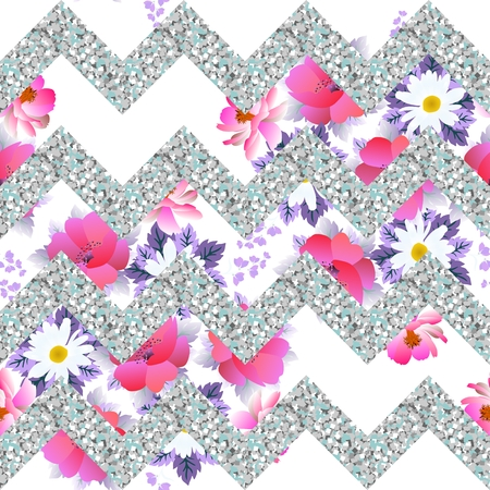 Seamless vintage pattern with silver zigzag and garden flowers in vector.