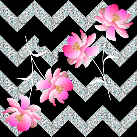 Gentle pink flowers and collapsing silvery zigzag on a black background. Seamless spring pattern in vector. Romantic print for fabric.