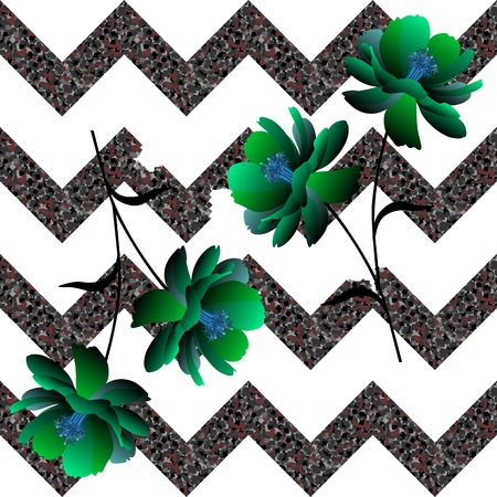 Fantasy green flowers on collapsing zigzag background. Seamless unusual pattern in vector. Ilustração