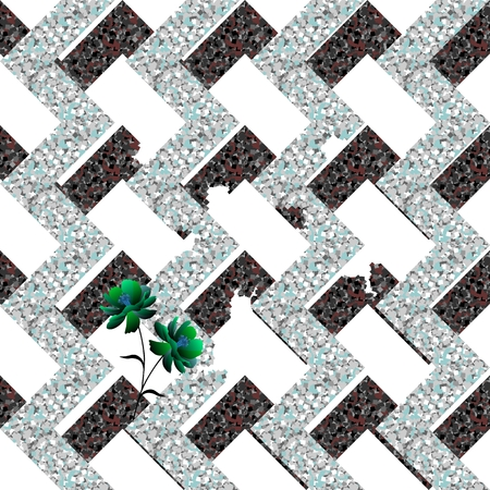 Collapsing metal abstract labyrinth and small tender green flowers on white background. Seamless vector pattern.