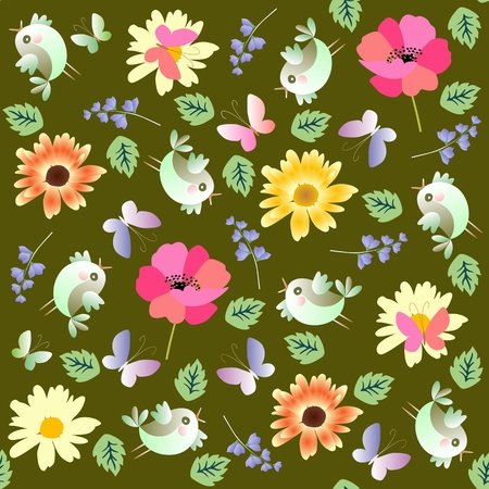 Beautiful summer seamless pattern in vector. Cheerful little birds, butterflies and garden flowers. Isolated on dark green background.