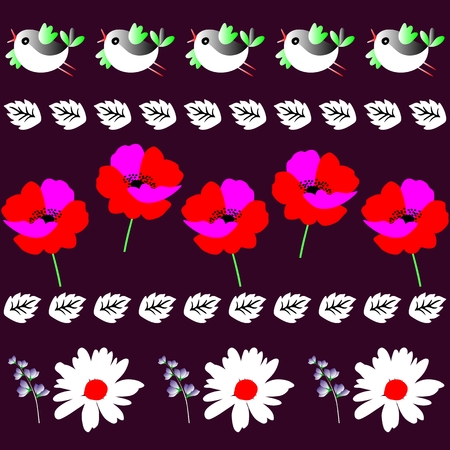 Endless border with funny little birds, leaves, poppies and daisies in vector illustration. Print for fabric.