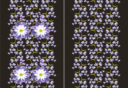 Set of two seamless floral border in vector. Illustration