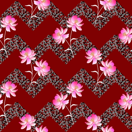 Seamless floral geometric pattern with bunch of pink cosmos flowers and zigzag ornament in vector. Illustration
