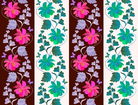 Cute seamless floral print for tapestry or wallpaper with vertical garlands of cosmos and bell flowers and small butterflies on striped background in vector.