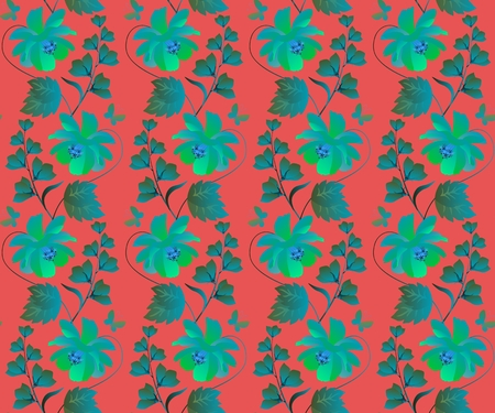 Luxury seamless green floral ornament on red background in vector. Ilustração