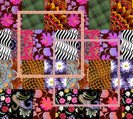 Unusual seamless patchwork pattern in vector. Patches with flowers, paisley, stripes and ornamental frame.