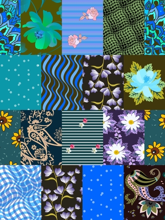 Seamless patchwork pattern in blue and green tones in vector. Print for fabric, blanket. Illustration
