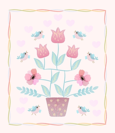Beautiful card with embroidered flowering tree, flying birds and hearts in vector. Ilustracja