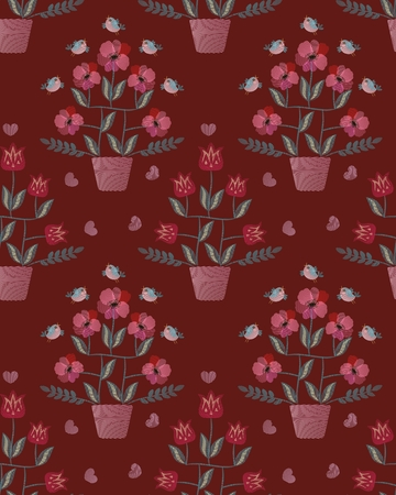 Imitation embroidery seamless pattern. Fantasy flowers in flowerpots and funny birds on bright brown background in vector.