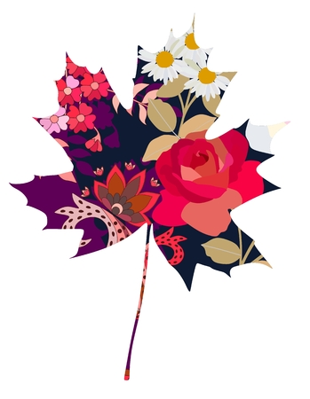 Maple leaf in the style of the patchwork.  Greeting or invitation card.