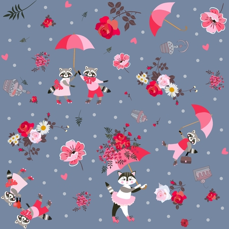 Beautiful endless pattern with funny raccoons, lovely kitten with umbrella, cakes, leaves and garden flowers on dark gray background. Print for fabric in vector.