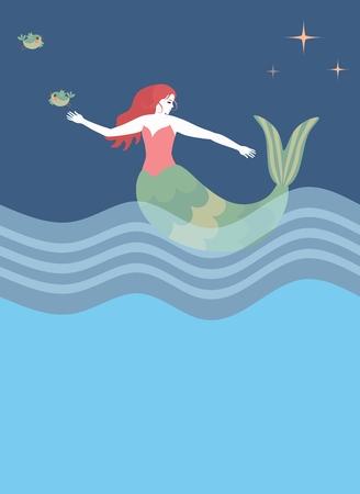 Beautiful mermaid is floating in sea