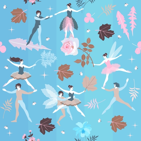 Fairies and elves dance in blue sky among blooming flowers. Magic ballet in spring garden.