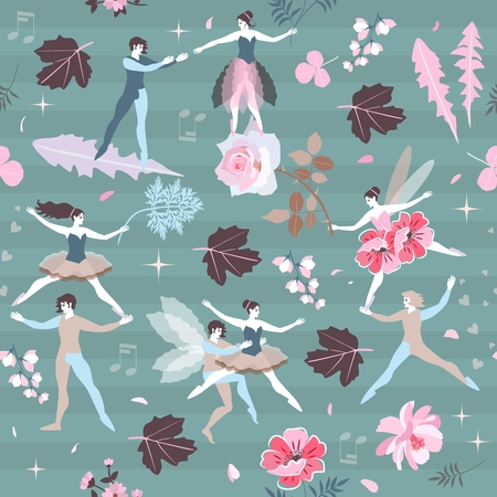 Cute cartoon fairies and elves with leaves and flowers on green striped background. Musical notes, stars, petals, roses. Beautiful. Seamless print for fabric, paper, wallpaper.