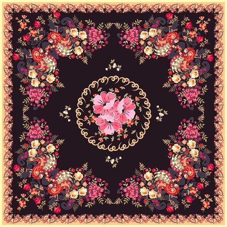 Silk scarf with peacocks, paisley ornament, tulips, roses and poppies flowers in ethnic style. Vector illustration.
