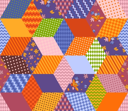 Bright multicolor patchwork pattern. Seamless vector illustration of quilt. Colorful stars from rhombuses patches. Print for fabric, textile, rug. Illustration