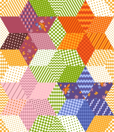 Bright colorful patchwork pattern with stars from rhombuses patches. Seamless vector illustration of quilt.  Print for fabric, textile, rug.