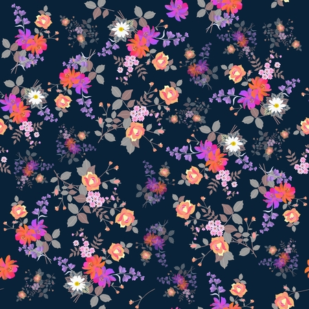 Exotic seamless floral background. Bouquets of garden flowers isolated on  dark blue background. Print for fabric.