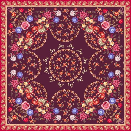 Beautiful square shawl in folkloric russian style. Bouquets of flowers and  fairy birds on dark brown background. Paisley border. Multicolor vector illustration.