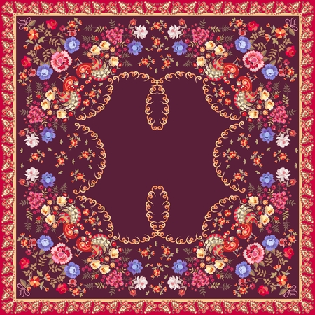 Ethnischer Blumenschal im russischen Stil. Pfauen, Rosen, Tulpen, Paisley-Rand und kleine Blumen auf dunkelviolettem Hintergrund. Vektorsommerentwurf.