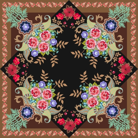 Pillowcase, square carpet or shawl in ethnic style. Paisley border, ornament, bouquets of flowers and leaves. Indian, russian motives. Vector illustration.