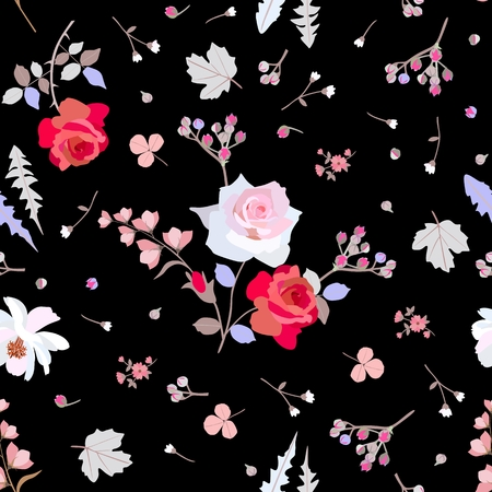 Seamless pattern with roses, cosmos and bell flowers, branches of spirea and leaves of clover, dandelion and viburnum on black background. Ditsy floral pattern. Print for fabric, paper, wallpaper. Vettoriali