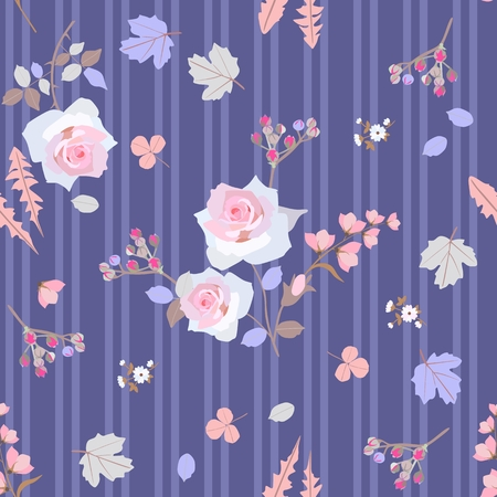 Seamless striped pattern with gentle white roses, little branches with buds of spirea and stylized leaves of viburnum, dandelion, clover on lilac background in vector. Print for fabric, wallpaper.