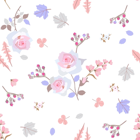 Gentle seamless pattern with stylized leaves of dandelion, clover, viburbum, branches of spirea, pink roses and bell flowers isolated on white background. Ditsy floral background.