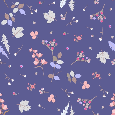 Seamless blue background with colorful leaves, bud and flowers in vector. Ditsy natural pattern. Print for fabric, wrapper, wallpaper. Beautiful summer design.