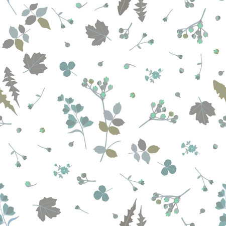 Ditsy natural pattern in grey and green tones. Leaves of viburnum, dandelion, rose, clover, branches and bud of spirea, bell flowers isolated on white background in vector. Print for fabric, paper. Illustration
