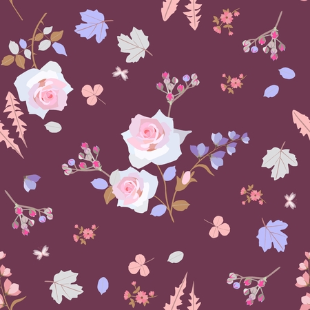 Seamless natural pattern with little bitterflies and bouquets of garden flowers isolated on brown background. Ditsy floral print for fabric with buds of spirea,leaves of clover, dandelion,  viburnum. Illustration
