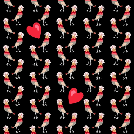 Seamless pattern with red hearts and funny birds with crests in shape of cosmos flower isolated on black background in vector. Print for fabric, paper, wallpaper, wrapping design.
