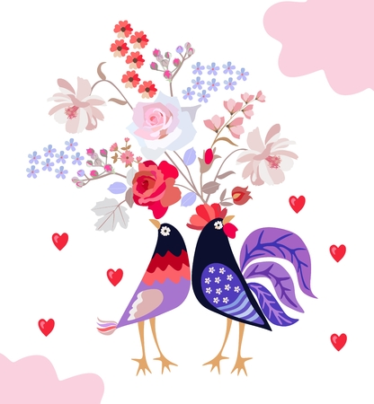 Romantic card with couple of cute cartoon birds with hearts and bouquet of garden flowers isolated on white background. Wedding invitation, greeting card, wrapping desidn. Vector image.