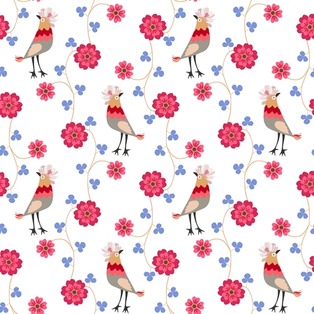 Seamless ornamental pattern with funny birds with crests in shape of cosmos flowers, blue clover leaves and red flowers in folk style isolated on white background. Vector print for fabric.