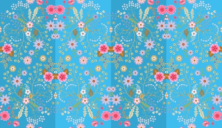 Seamless floral pattern in naive folk style. Fantasy flowers and leaves on striped blue background. Vector illustration. Print for fabric, gift wrapper.