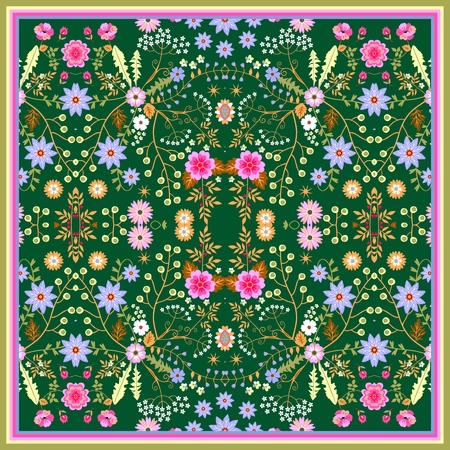 Silk kerchief with fantasy little flowers in naive folk style and leaves on dark green background.  Vector summer