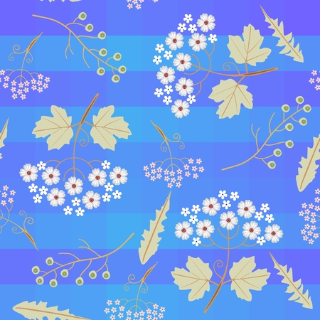 Cute stylized viburnum branches with leaves and inflorescence, umbrella flowers, dandelion leaves and green bird cherry berries on bright blue striped background.  Seamless striped pattern in vector.