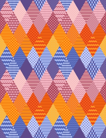 Bright patchwork seamless pattern from ornamental rhombus patches. Zigzag colorful stripes. Vector illustration. Ilustração