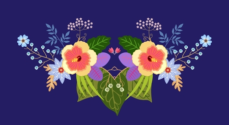 Bright design for fashion prints. Beautiful flowers and leaves are collected in colorful floral composition on dark blue background. Vector pattern.