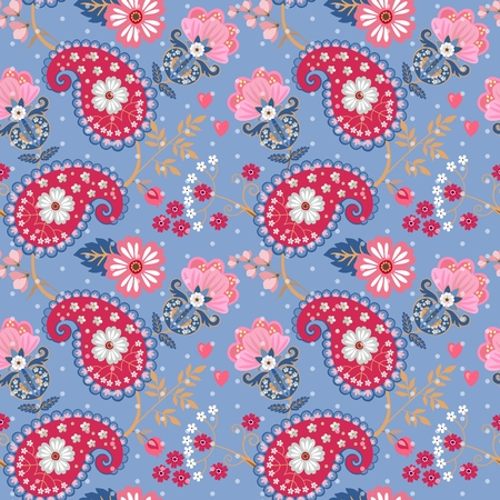 Nostalgic seamless paisley pattern with fantasy pink flowers. Indian, russian motives. Vector print for fabric.