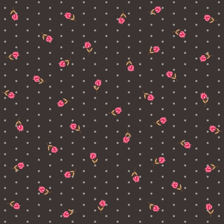 Nostalgic floral polka dot pattern with little pink tulips on dark brown background. Print for fabric in vector.