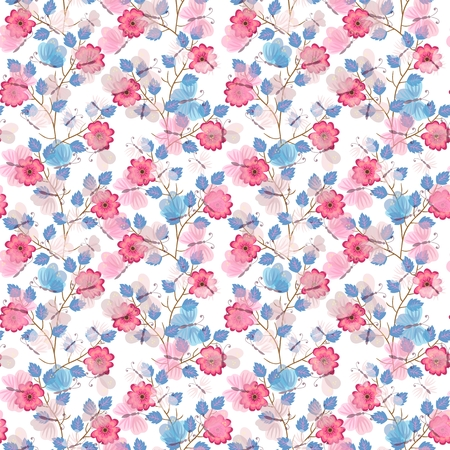 Butterflies flying in the garden. Cute seamless pattern in vector. Gentle print for fabric, paper, wallpaper, wrapping design. Illustration