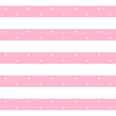 Reticolo senza giunte alla moda di vettore nei colori rosa e bianchi. Strisce orizzontali con punti. Stampa per tessuto, tessuto, carta da parati, carta da imballaggio. Vettoriali