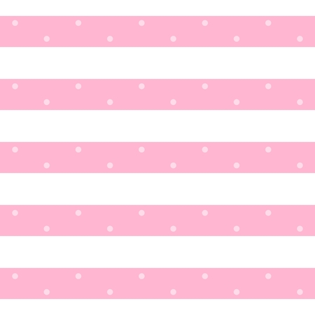 Vector stylish seamless pattern in pink and white colors. Horizontal stripes with dots. Print for fabric, textile, wallpaper, wrapping paper.