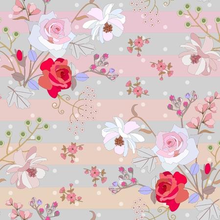 Carino motivo floreale senza soluzione di continuità su sfondo a pois a strisce. Stampa delicata per tessuto. Vector primavera o estate design.