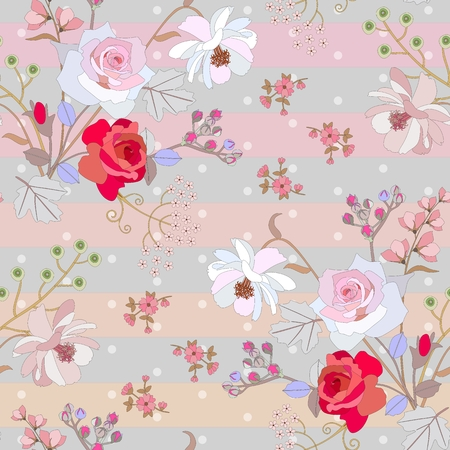Cute seamless floral pattern on striped polka dot background. Gentle print for fabric. Vector spring or summer design.